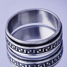 Punk hip-hop Mens White Stainless Steel mystic promise Band Ring Size 11