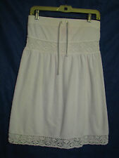JUICY COUTURE White Terry TUBE DRESS SWIM SUIT COVER-UP Strapless CROCHET LACE S