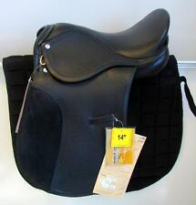 "14"" BLACK All Purpose Youth Kids English EVENT JUMP Leather Saddle: Silver Fox"