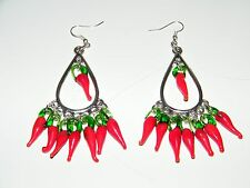 RED CHILI PEPPERS EARRINGS TEAR DROPS! FILIGREE SILVER EAR WIRES MEXICAN FIESTA!