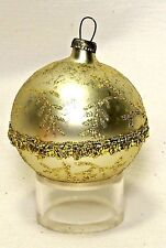 Vintage~Gold Ball w/Gold Glitter/Lace~Blown Glass Christmas Ornament~Germany
