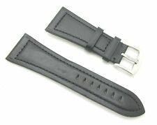 30mm Quality Genuine Leather Black Watch Band with Spring Bars