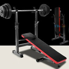Professional FOLDABLE FLAT  INCLINE ADJUSTABLE GYM BARBELL BENCH with DIPs RACK