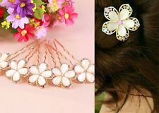 Women Girl`s Gold Crystal Rhinestones Flower Hair Clip Hairpin Hair Jewelry