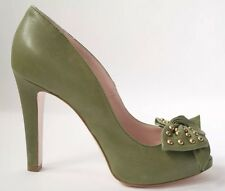 RED VALENTINO SZ UK4 EU37 US7 GREEN LEATHER BOW STUDDED PUMP PEEP-TOE HEELS SHOE