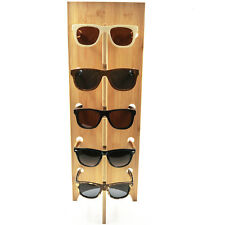 NEW 5 PAIR NATURAL WOODEN SUNGLASS DISPLAY RACK wood sunglasses holder