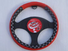 KIA CEE'D / SOUL STEERING WHEEL COVER SWC P 2 RED LEATHERETTE