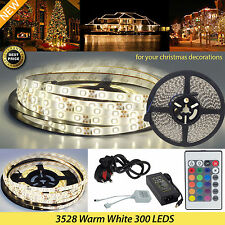 KIT COMPLETO 5M 3528 300LED STRIP LIGHT WARM WHITE WATERPROOF E ADESIVI X'MAS DECOR