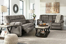 CONSTANT-Gray Microfiber Recliner Sofa Couch Loveseat Set Living Room Furniture