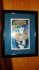 "Cuban Artist Charo Original Signed Oil-Mix  Painting CHAMART ""LADY HOLDING CAT"""
