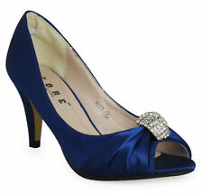 NEW LADIES BRIDAL SHOES SATIN BRIDESMAID HEEL OCCASION PROM PARTY WEDDING DIAMAN
