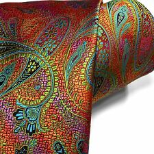 Bold New Tie 100% Silk Multi-color Paisley Necktie Orange Teal Blue Pink Green