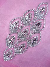 N78 Silver Applique Crystal Rhinestone Metal Back Embellishment 5.25""