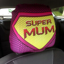 CAR SEAT HEAD REST COVERS 2 PACK SUPER MUM PINK DESIGN MADE IN YORKSHIRE