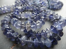 HAND FACETED IOLITE rondelles, approx 138cts, 6mm - 8mm rondelle beads, 18.5""