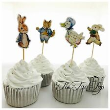 12 x Peter Rabbit CUPCAKE TOPPER Pick. Party Supplies Food Lolly Loot Bag