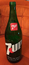 Vintage 7 Up Soda Pop Bottle - 32oz - Collectible Green Glass