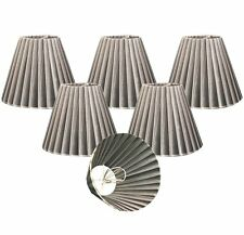 "Royal Designs 6"" Chandelier Lamp Shades Set of 6 Empire Organza Gray Clip-On"