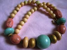 """Stamped Japan Graded Turquoise Coral & Bone Colored Beads necklace 16"""" Unusual"""