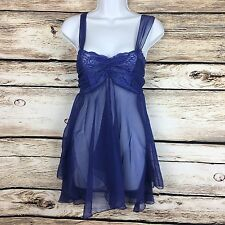 Victorias Secret Womens Size S Chemise Blue Sheer Babydoll Nightie
