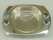 Archibald Knox Art Nouveau Cymric Solid Silver Dish Glass Turquoise Liberty & Co
