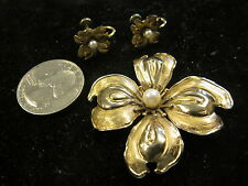 Vintage SIGNED WACO? 12 K GF Gold Leaf Brooch/PEARL and Earrings, Lovely Set!