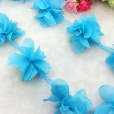 New Hot 1 Yard Lake Blue Flower Chiffon Wedding Dress Bridal Fabric Lace Trim