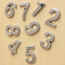 Silver Metal Adhesive Car Digits Numbers Modern House Door Address Plate Sign