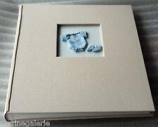 Album 200 photos bébé bleu enfant traditionnel 4 pages texte couverture tissu