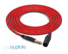 Canare Quad L-4E6S Cable | Neutrik Gold TRS XLR-M | Red 75 Feet | 75 Ft. | 75'