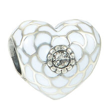 White Enamel Crystal Heart Charm Bead - Genuine 925 Sterling Silver - I Love You