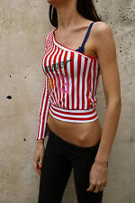 L.Jeans Lonsdale Top Striped Red White Ladies Stretch 1 Shoulder Summer S Small