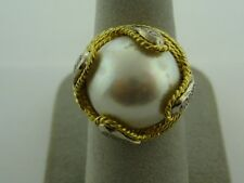 FANCY MOBE PEARL RING WITH ROPING DESIGN WITH DIAMONDS IN 14 KARAT YELLOW GOLD