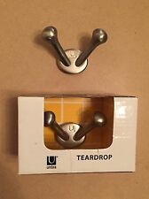 Set of 2 NEW Umbra Brushed Nickel Double Hooks, Wall Mounted (1 in box) Bathroom