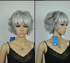 Christmas present lady gray short curly healthy wig .+ free wig cap
