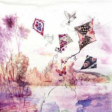 4 Single Lunch Party Paper Napkins for Decoupage Decopatch Craft Abstract Kites