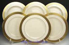 LENOX WESTCHESTER GOLD ENCRUSTED RIM DINNER PLATES SET OF 6