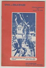 1976 VIRGINIA VS DELAWARE OFFICIAL BASKETBALL PROGRAM 1/22/76 STEVE CASTELLAN EX