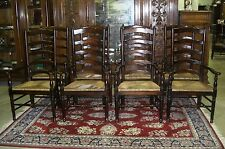 Set of 10 ANTIQUE STYLE COUNTRY FRENCH LADDERBACK DINING ARM CHAIRS RUSH SEATS