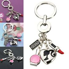 Crystal Lady Lipstick Makeup Heart Keychain Key Chain Ring Keyring Durable