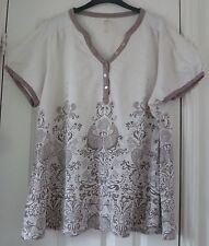 EVANS Cream & Beige Cotton Paisley Floral Print Shirt Tunic Top - Size 22 / 24