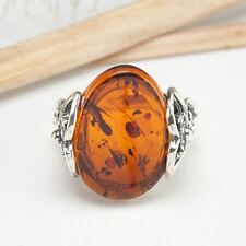 HANDMADE AUTHENTIC BALTIC AMBER 925 STERLING SILVER RING SIZE 8 JEWELRY 10111