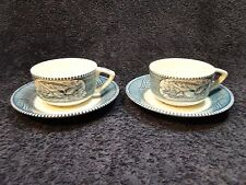 Currier Ives Royal China Blue and White Tea Cup Saucer Scroll Handles TWO RARE!