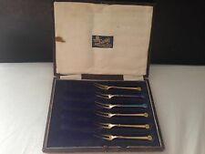 Collectable Norway David Andersen Solid Silver Guilloche Enamel Pickle Fork Set