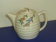 Vintage Porcelier Hand Decorated TeaPot Beehive Shape with Flowers