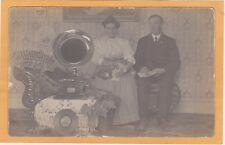 Real Photo Postcard RPPC - Couple with Cat & Phonograph Gramophone & RCA Record
