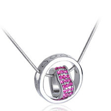 New Hot 18K White Gold GP Crystal Heart Ring Fortunes Pink Love Pendant Necklace