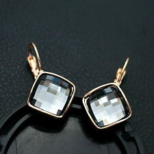 18k Rose Gold Filled Swarovski Crystal Lever Back Grey Square Drop Earring IE103