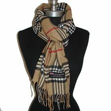 "New Fashion 100% Cashmere Scarf Camel Check Plaid Scotland Wool Wrap ""58A078"