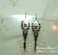 HANDCRAFTED AWESOME FILIGREE SILVER TONE CHARMS FEATHERS  PIERCED EARRINGS